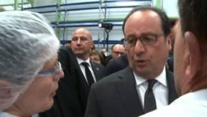 Hollande en visite chez le fabricant de compotes Andros