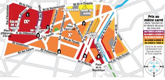 immobilier paris la carte des prix des 9e et 10e arrondissements. Black Bedroom Furniture Sets. Home Design Ideas
